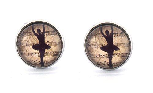 Ballerina Motiv Cabochon Ohrstecker Modeschmuck Ohrringe 12mm silber-farben Tanz