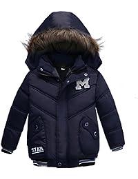 Oyedens Jungen Winterjacke mit Kapuze Jacken Blouson Kinder Kapuzenparka Warm Daunenjacken Blouson Wintermantel