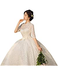 Vestido de novia Collar Retro de Manga Larga, Cintura Alta, Sencillo, Mujer Embarazada