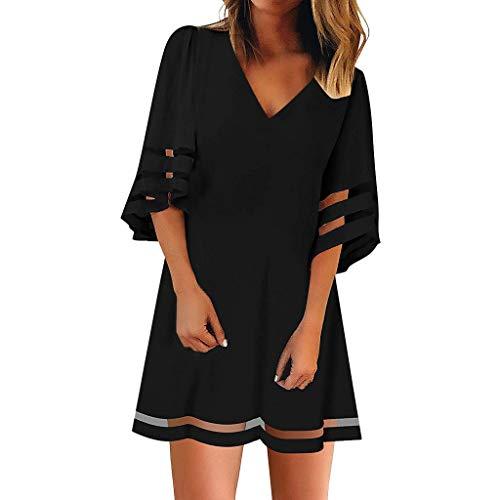 MRULIC Kleider Damen Sommer Chiffon Kleid Frauen V-Ausschnitt Mesh Panel Bluse Kleid 3/4 Bell Ärmel Lose Top Party Kleider A-Linie Kleid