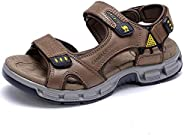 CAMEL Men's Sandals Genuine Leather Sport Open Toes Sandals Casual Elastic Beach Slippers for Su