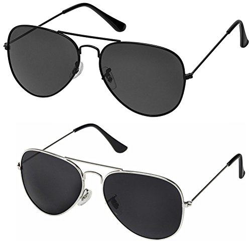 Silver Kartz Classic Aviator Combo for Unisex Sunglasses (AV001-0040|50|Black)