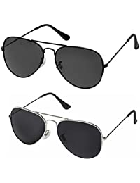 Silver Kartz Aviator Combo for Unisex Sunglasses(AV001-0040|50|Black)