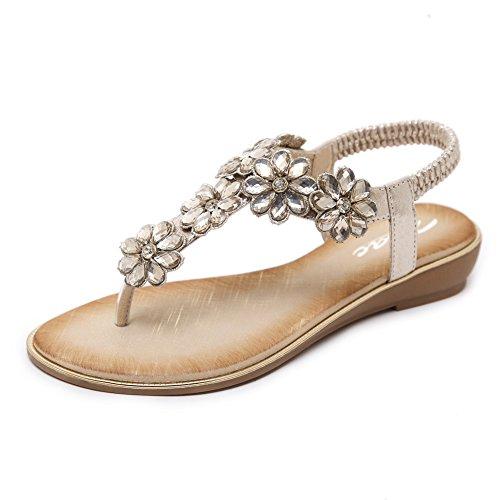 9736c6b35 Zicac Damen Frauen Runde Clip Toe Elastische T-Strap Blume Strass Low  Flache Heel Sandalen Sommer Strand Post Flip Flops Flache Schuhe (EU 39  (Asien Tag 40) ...