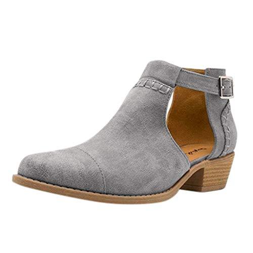 Schnalle Freizeitschuhe (Damen Herbst Winter Stiefel Damen Bequeme Spitze Zehen Schnalle Low-Heel Freizeitschuhe Ankle Boots Wild Basic Jeden Tag Warm Winter Schuhe(Grau,40))