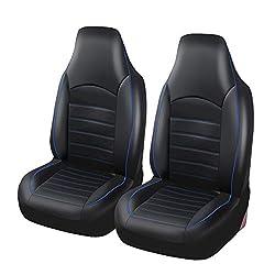 Vorne Autositzbezüge PU-Leder Universal-Carseat Protektoren wasserdicht Innen Zubehör-Set für Autos, SUVs und Trucks (Schwarz und Rot, Grau, Blau),Blau