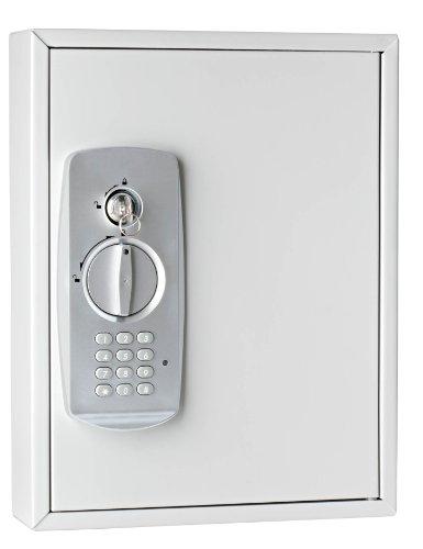#Wedo 10262137 Schlüsselschrank (für 21 Schlüssel, pulverbeschichtetes Stahlblech, mit modernem Elektronikschloss und zusätzlichem Standardschloß inklusive 2 Schlüssel) lichtgrau#