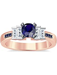 Silvernshine 1.35Ct Round & Buget Cut Blue Sapphire Sim Dimoands 14K Rose Gold PL Engagement Ring