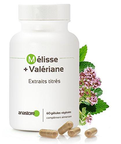Mélisse + Valériane * 400 mg / 60 gélules * Contre les troubles du sommeil et du stress* Fabriqué en FRANCE
