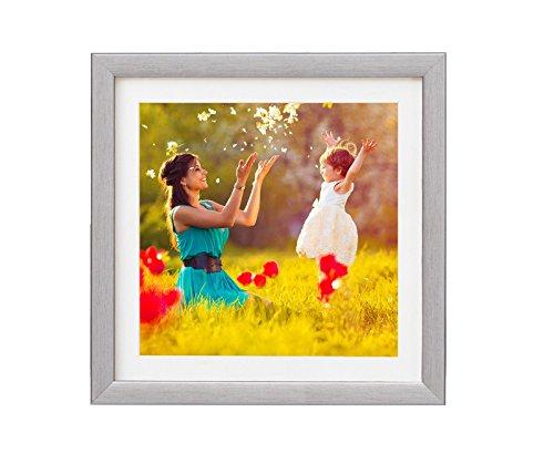 Holz - Rahmen für Bilder quadratisch 15x15 20x20 25x25 30x30 40x40 50x50 mit weißem Passepartout Rahmen zum Aufhängen Farbe Grau-silber - Format 50x50