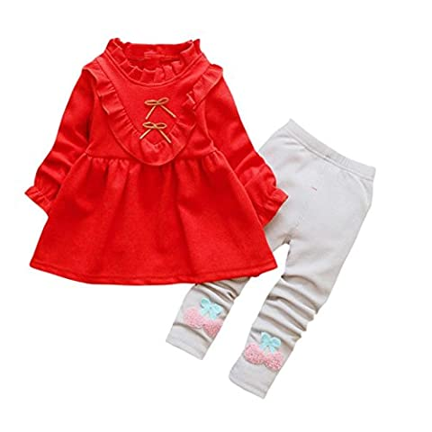 Janly 2Pcs Neugeborenes Kleinkind-Baby-Kleid + Hose Prinzessin Kids Set Kleidung Sundress (2T, Rot)