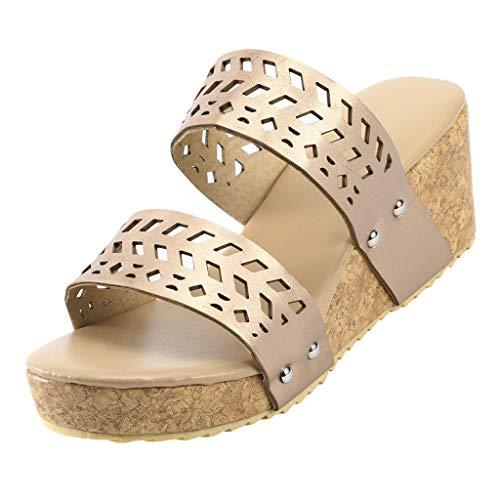 B-commerce beiläufige Frauen-Sommer-Art- und Weisekeile beschuht Retro- Peep Toe Slipper Hollow Carved Slipper