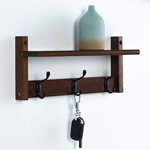 LFY Brown Coat Rack Storage Shelf, Wandgarderobe Haken, Holz Kleiderhaken Kleiderbügel für Eingangsbereich Badezimmer Schlafzimmer (Color : Brown, Size : 5 Hooks) (Coat-rack Storage)