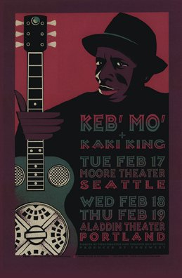 keb-mo-17-2-04-limited-edition-seta-serigrafia-music-poster-by-gary-houston-originale-firmato-e-nume
