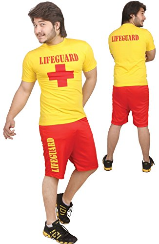 Adults Life Guard Fancy Dress Miami Beach Patrol Party Costume Water Rescue#MENS#M