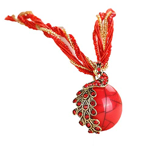 TUDUZ Damen Elegant Halskette mit Phoenix Gem Anhänger Festival Ketten Beads kette Trachtenschmuck Kette für Dirndl und Lederhose (Rot)