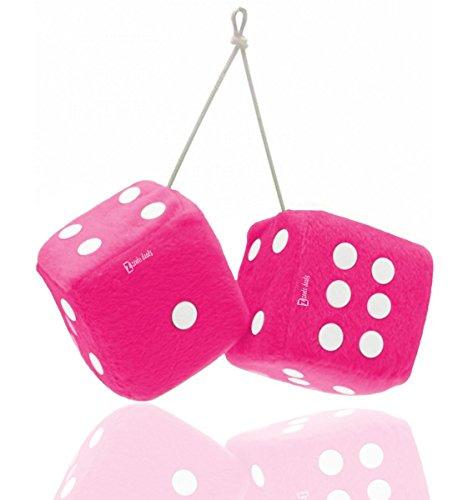 Zento Deals par de 3pulgadas cuadrado rosa Hanging Fuzzy dados con puntos...