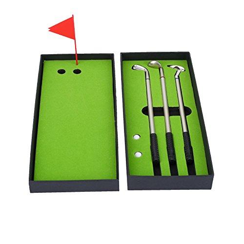 Dilwe Golf Pen Set, Mini Desktop Golfball Stift Geschenk Set, Einschließlich Mini Golf Kugelschreiber und Flag Schreibwaren Dekorationen für Golfer Fans