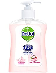 Dettol with E45 Anti-Bacterial Handwash, Rose and Shea Butter, 250 ml