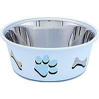 Elton Paw & Bone Cutie Bowls (White) Dog Bowls Export Quality Inside Stainless Steel Dog Food Bowl Feeder Bowls Pet Bowl…