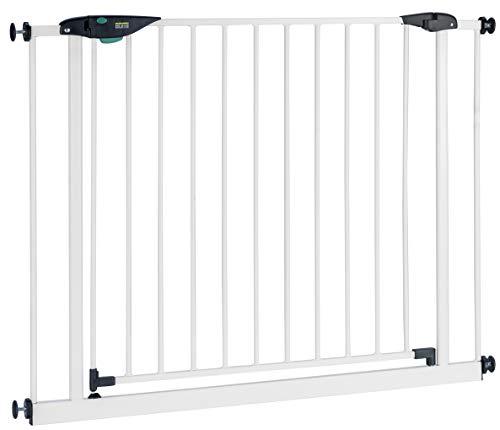 BOMI Türschutzgitter 85-243 | Zum Klemmen | 90° Stop | Treppenschutzgitter aus Metall weiß selbstschließend | Gitter Türgitter Absperrung für Babys, Kleinkinder, Tiere