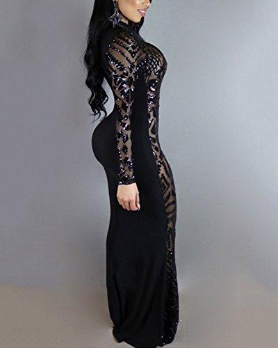 Damen Elegant Pailletten Kleid Abendkleider Langarm Cocktailkleid Prom Dress Lang Schwarz XL - 3