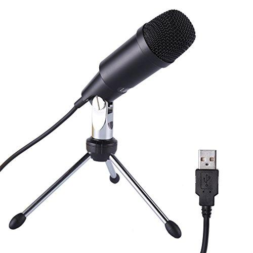 LESHP 3.5 mm vergoldet Stecker USB Metall professionelle Studio Rundfunk & Aufnahme Kondensator-Mikrofon Mit Stativ Halterung & USB für PC Laptop Notebook Skype -Plug and play Schwarz