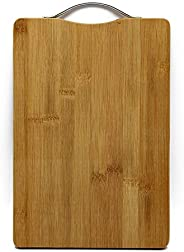 AB SALES Large Non-Slip Wooden Bamboo Cutting Board with Antibacterial Surface with Premium Stainless Steel Ha