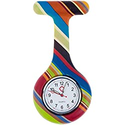 Best Quality Brooch / Fob Watch For Health Care Workers, Nurses And Doctors In Silicone Hygienic Protection Cover For Infections Control With Stripes Patterns / Designs In Many Colours By VAGA