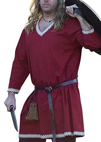 Wikinger Tunika aus Baumwolle, dunkelrot von Battle-Merchant - LARP Mittelalter