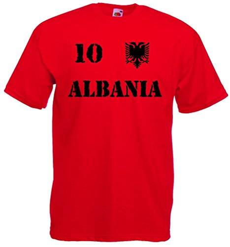 world-of-shirt Herren T-Shirt Albanien EM 2016 Trikot Nr.10 Rot