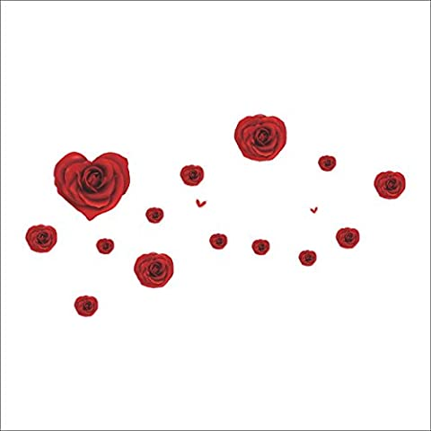 Romantic Red Heart Shaped Charming Rose Marriage Room Adornment Bedroom Decoration Removable Wall Sticker