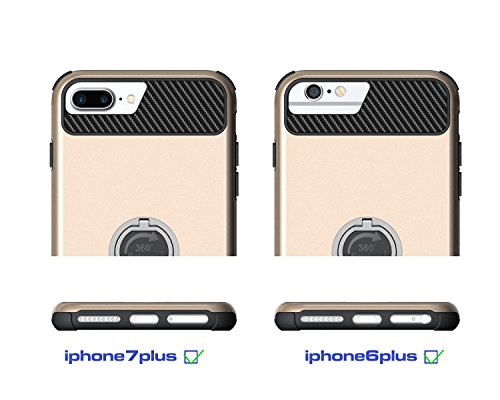 IPhone 7 Plus Gehäuse, Solid Color 2 In 1 Hard Back Case mit Ring Stand für IPhone 7 Plus ( Color : Gold ) Gold