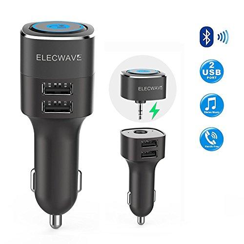 Kfz Empfänger, Elecwave Bluetooth V4.2 Freisprecheinrichtung Car Kit & Music Streaming Receiver mit Dual-USB-Kfz-Ladegerät 4.8A / 5V + 3,5 mm AUX-Eingang für Home / Car Stereo Audio System + Magnetische Halterungen EB06