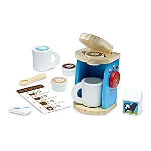 Melissa & Doug- Wooden Brew and Serve Coffee Set Brew & Serve, Multicolor (19842)