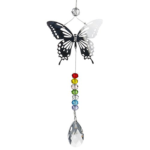 H&D Kronleuchter Deko Kristalle 38 mm Prismen Sonnenfänger Schmetterling Perlen Regenbogen Chakra Schmetterling Sonnenfänger für Geschenk