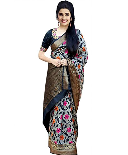 Leriya Fashion Bhagalpuri Silk Saree With Blouse Piece (Lf-(Ss1052)_Black_Free Size)