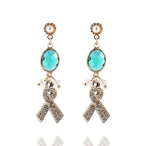 ng hang- Süß und elegant minimalistischen grünen tropfenförmigen Bogen Diamant-Ohrringe (Süßes Paar Halloween Outfits)