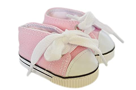 PINK CANVAS DOLL SNEAKERS FOR 18 INCH AMERICAN GIRL DOLLS, BITTY TWINS AND BITTY BABY