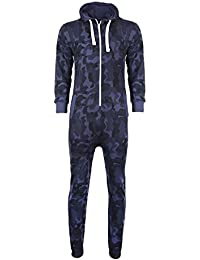 40d04a3cf7c Mens Camo Camouflage Onesie Hooded Zip Playsuit All in One Piece Jumpsuit  Adult Size