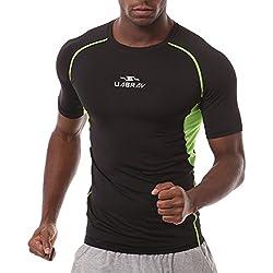 ZiXing Hombre Camiseta de Compresión de Mangas Corta Secado Rápido Para Fitness Training Running Verde Medium