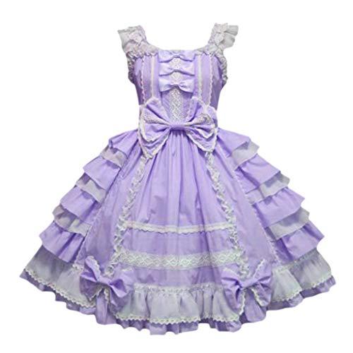 Lazzboy Kleider Cosplay Costume Frauen Vintage Gothic Bogen Spitze Volant Langarm Patchwork Kleid Damen Kostüm Mini-Kleid Bowknot Rüschen Oktoberfest Party Karneval(Lila,M)