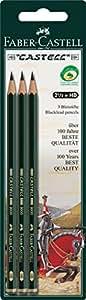 Faber-Castell 110798 - 3 Bleistifte CASTELL 9000, Härtegrad: HB, Schaftfarbe: grün