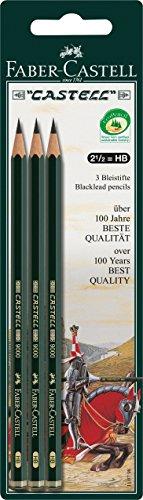 Faber-Castell 110798 - Blister de 3 lápices 9000 HB, color negro
