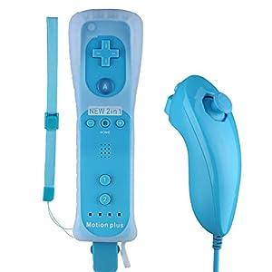 STOGA Gamepads & Game Controller für Wii Wii U Motion Controller für Wii Wii U 2 in 1 Motion Plus Remote Nunchuk Controller mit Silicon Case für Nintendo Wii und Wii U(Schwarz)