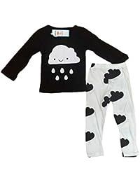 Smile YKK Conjuntos de Bebé Estampado de Lluvia Cuello Redondo Mangas Cortas Negro y Blanco