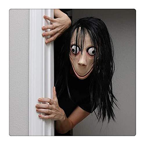 Langen Kostüm Haaren Mit - Z-one 1 Gruselige Momo-Maske, Gruselige Challenge-Spiele, böse Latexmaske mit langem Haar, Halloween-Kostüm, Party-Perücke Requisiten