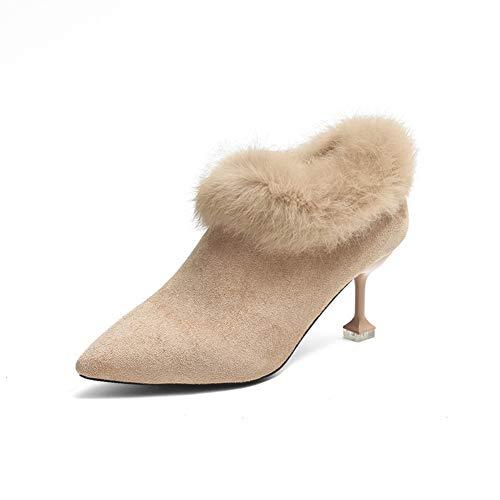 escarpins Bottes De Haut Talon Ladies Automne Chaud D'Hiver Chaussures Pointues