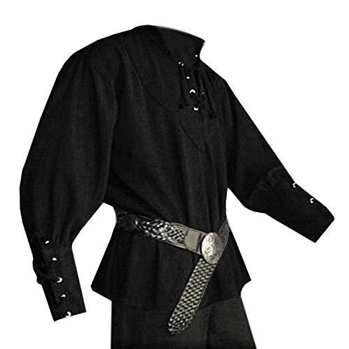 Pengfei Herren Mittelalterlicher Piratenkostüm Renaissance Kostüm Söldner Schottische Weite Manschetten - Schwarz - XXX-Large