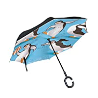 COOSUN Penguins Double Layer Inverted Umbrella Reverse Umbrella for Car and Outdoor Use Rain Windproof Waterproof UV Protection Big Straight Umbrella With C-Shaped Handle